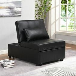 2-in-1 Sofa Bed Convertible Bed Twin-size Bed Black Faux Lea