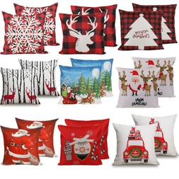 """2PCS 18 x 18"""" Christmas Throw Pillow Covers Couch Cases Cott"""