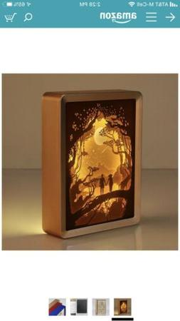 WOMHOPE ABS Frame Papercut Light Boxes Night Lights Paper Sc