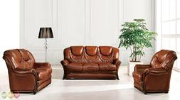 Bella Brown Traditional Italian Leather Sofa Bed 3 Piece Set