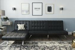 Black Leather Futon Sofa Sleeper Couch/Bed W/Chaise Lounger