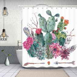 NYMB Botanical Prickly Pear Cactus Shower Curtains for Bathr