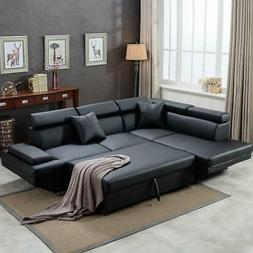 Contemporary Sectional Modern Sofa Bed - Black with Function
