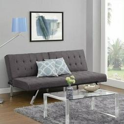 Convertible Futon Sofa Bed Linen/Chrome Couch Sleeper Furnit