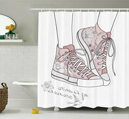 Lunarable Cute Shower Curtain, Shoes with Floral