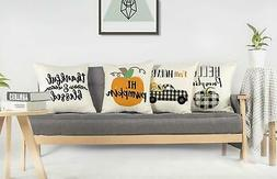 4TH Emotion Fall Harvest Throw Pillow Cover Farmhouse Thanks