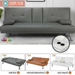 Faux Leather Futon Sofa Bed Recliner Couch Sleeper FULL Conv