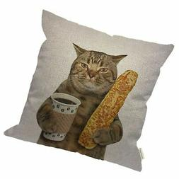 HGOD DESIGNS Funny Cat Throw Pillow Cover,The Cat is Holding