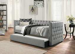 GREY TUFTED SOFA TWIN BED DORM ROOM DAYBED WITH TRUNDLE BEDR
