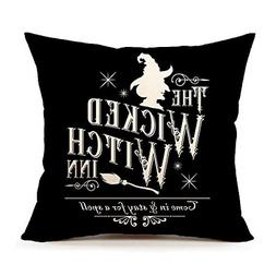 4TH Emotion Halloween Wicked Witch Inn Throw Pillow Cover Fa