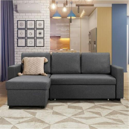 4-seat Convertible Sectional Sofa Couch Bed for Limite Spaces Gray