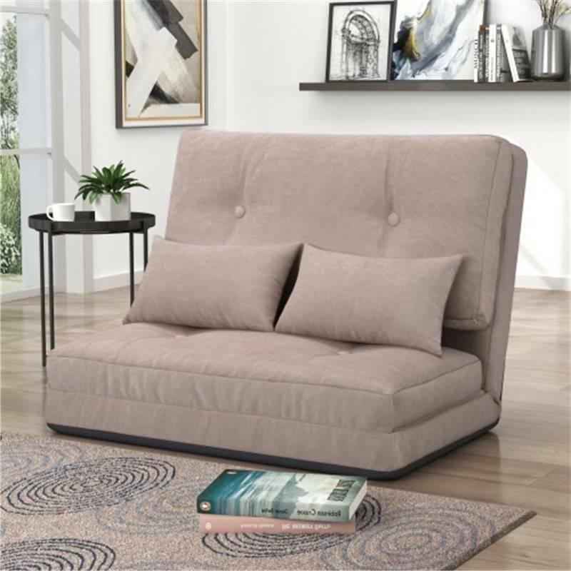 Beige Bed Adjustable Folding Sofa Pillows @cy