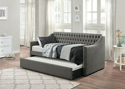 DARK GREY SOFA TWIN BED DORM ROOM DAYBED WITH TRUNDLE BEDROO