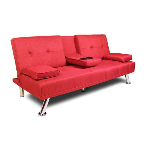 Convertible Futon Sofa Bed Sleeper w/Cup Holder Wood Leg Red