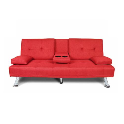 Convertible Sofa Bed Holder Wood Frame Metal Red