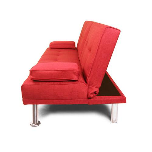 Convertible Futon Couch Bed w/Cup Wood Frame Metal Leg Red