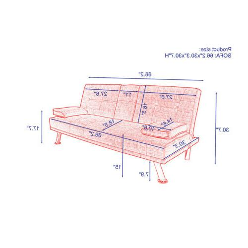 Convertible Sofa Bed w/Cup Wood Frame Metal Red