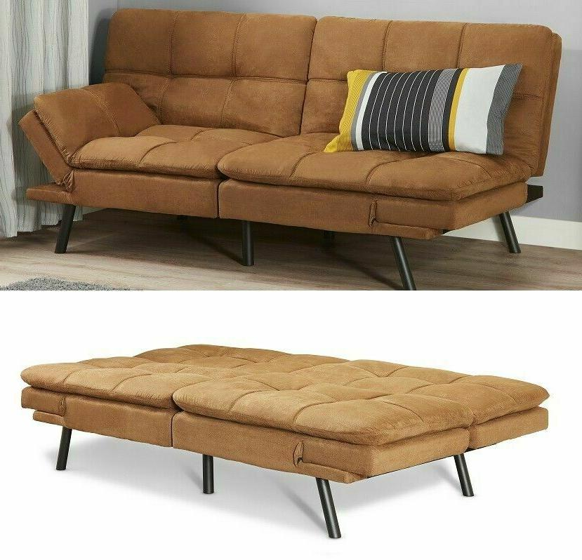 SLEEPER SOFA BED Camel Suede Convertible Couch Modern Living