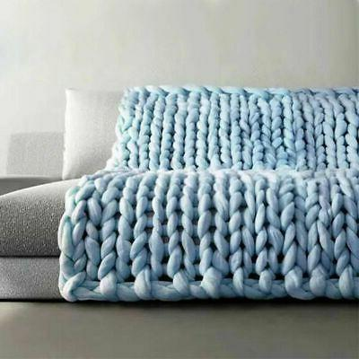 Large Soft Thick Blanket Hand Wool Throw Sofa Gift
