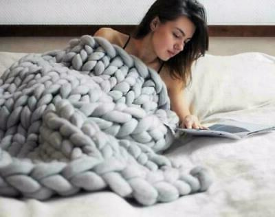 Large Soft Knitted Thick Blanket Wool Throw Blanket Gift