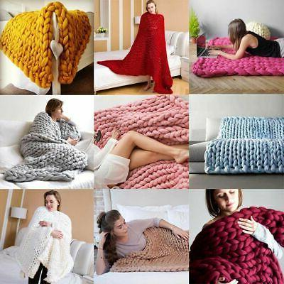 large soft chunky knitted thick blanket hand