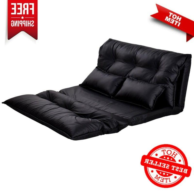 pu leather foldable floor chair sofa bed