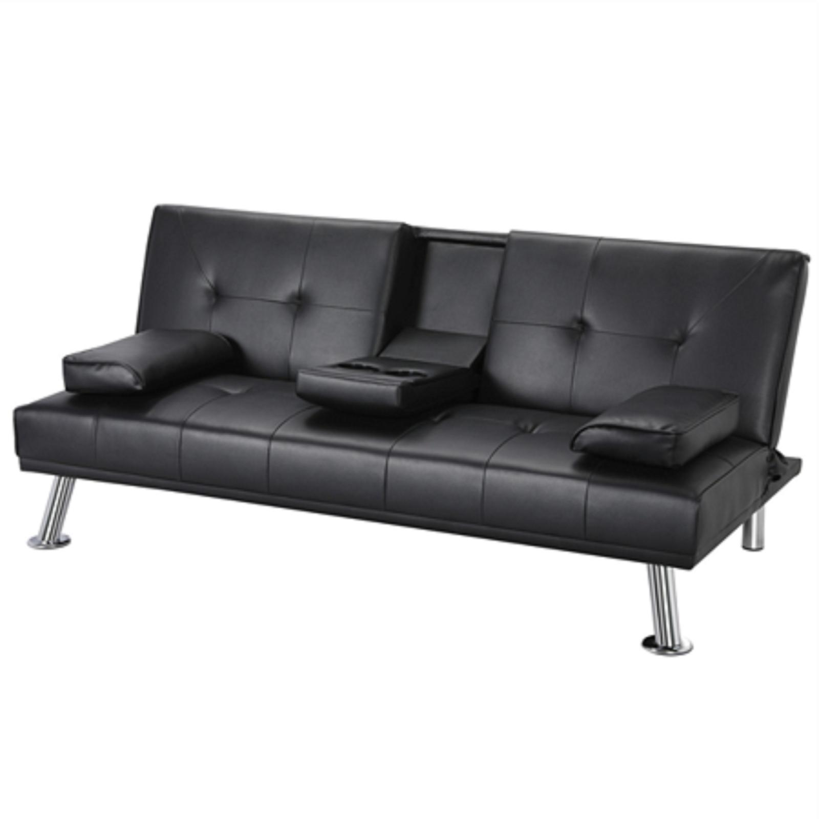 PU Leather Futon Home Room Guest Bed Loveseat