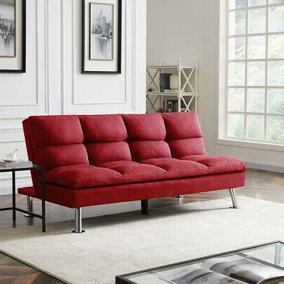 Seat FUTON Red FABRIC Wood Frame with Metal