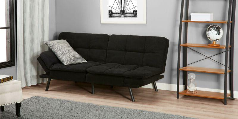 Sleeper Sofa Bed Black Suede Convertible Couch Memory Foam F