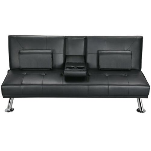 Sleeper Bed Leather Couch Adjustable Room Futon Black