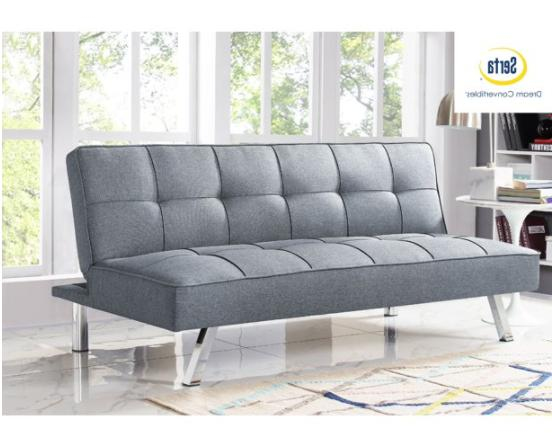 Sleeper Sofa Bed Grey Convertible Couch Modern Living Room F