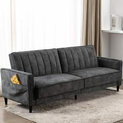 Modern Convertible Sofa Bed Fold Up & Down Couch Tufted Velv