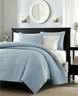 NEW MADISON PARK QUEBEC COVERLET SET TWIN/ TWIN XL BLUE BEDS