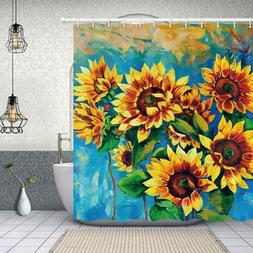 NYMB Oil Painting Sunflower Shower Curtain in Bath 69X70 inc