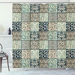 Lunarable Patchwork Shower Curtain, Antique Mosaic with