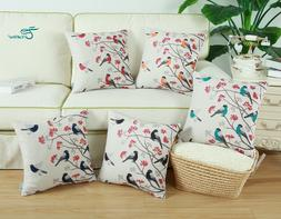 CaliTime Pillows Cushion Cover Shell Chickadees Bird with Re