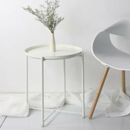 Round Metal Tray Sofa Bed Side End Table Home Room Furniture