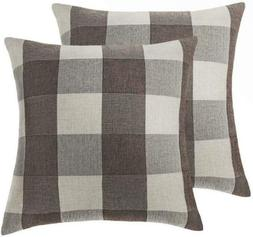 4TH Emotion Set of 2 Brown Buffalo Check Plaid Throw Pillow
