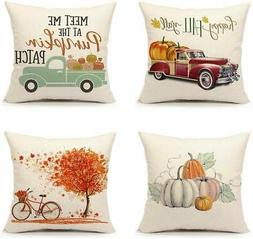 4TH Emotion Set of 4 Fall Throw Pillow Covers Pumpkin Truck