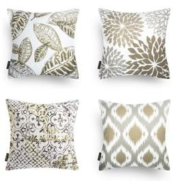 Set of 4 New Living Series Coffee Color Decorative Throw Pil