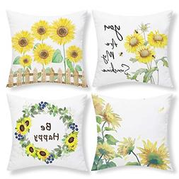 Set of 4 Sunflowers Throw Pillow Autumn Cushion Covers for S